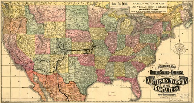 A correct map of the United States of America showing the Atchison, Topeka, and Santa Fé R.R. and connections.