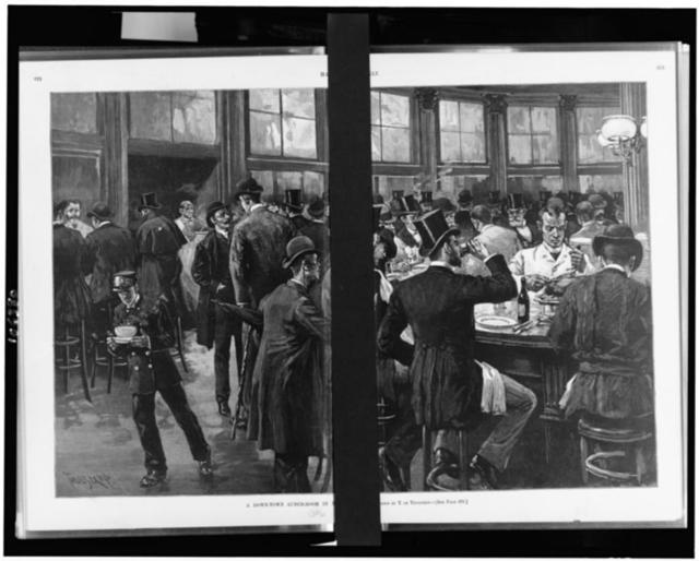 A Down-town lunch-room in New York / drawn by T. de Thulstrup.