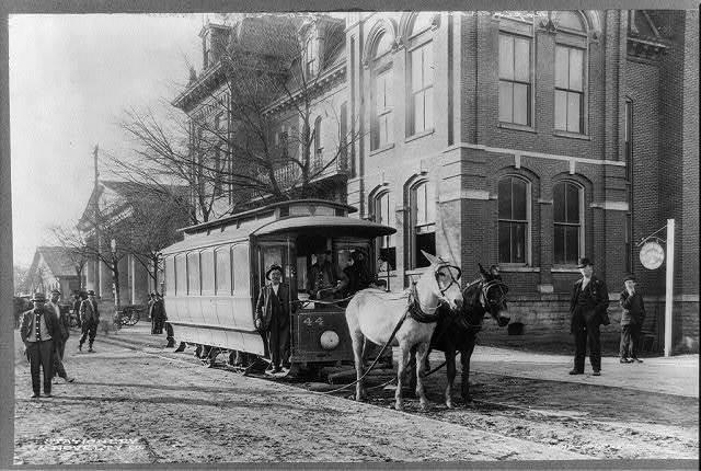 A horsedrawn streetcar. Rapid transit. Covington Ga.
