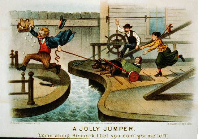 "A jolly jumper: ""come along Bismark, I bet you don't got me left."""