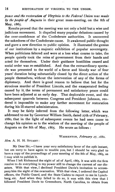"A narrative of the leading incidents of the organization of the first popular movement in Virginia in 1865 to re-establish peaceful relations between the northern and southern states, and the subsequent efforts of the ""Committee of nine,"" in 1869, to secure the restoration of Virginia to the Union,"