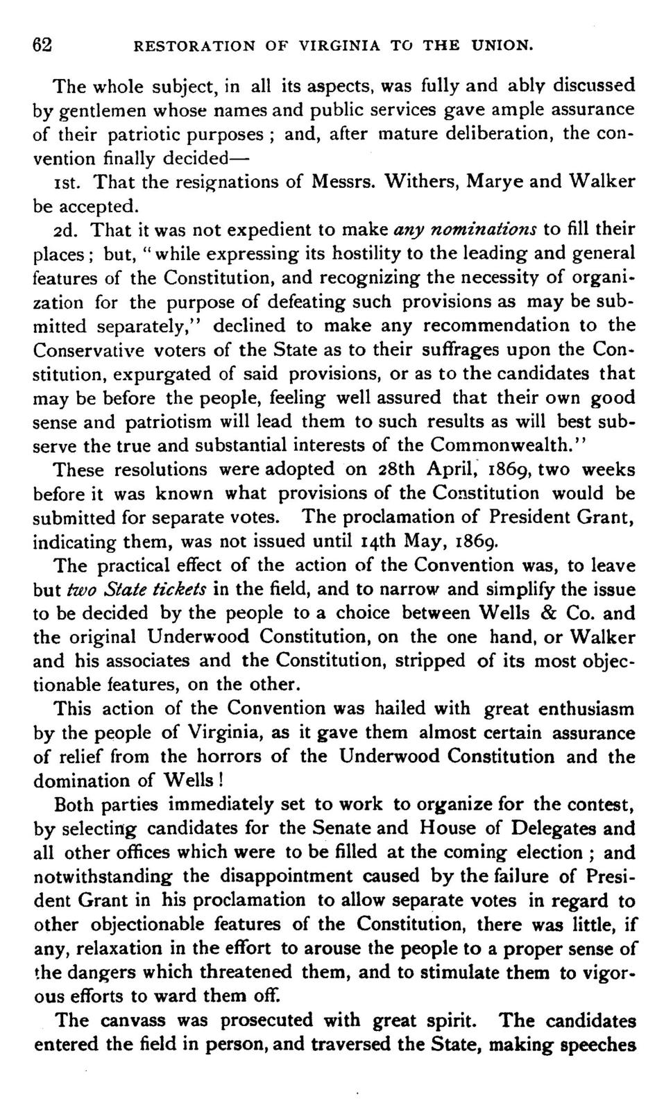 """A narrative of the leading incidents of the organization of the first popular movement in Virginia in 1865 to re-establish peaceful relations between the northern and southern states, and the subsequent efforts of the """"Committee of nine,"""" in 1869, to secure the restoration of Virginia to the Union,"""