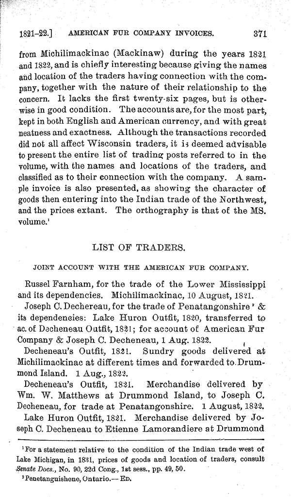 American Fur Company invoices, 1821-22