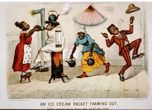 """An ice-cream racket--thawing out: """"golly! guess you's done got enuf dis time."""""""
