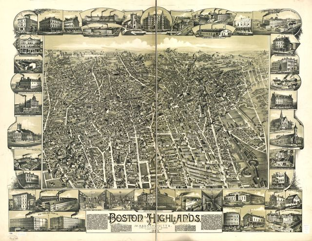 Boston Highlands, Massachusetts. Wards 19, 20, 21 & 22 of Boston.