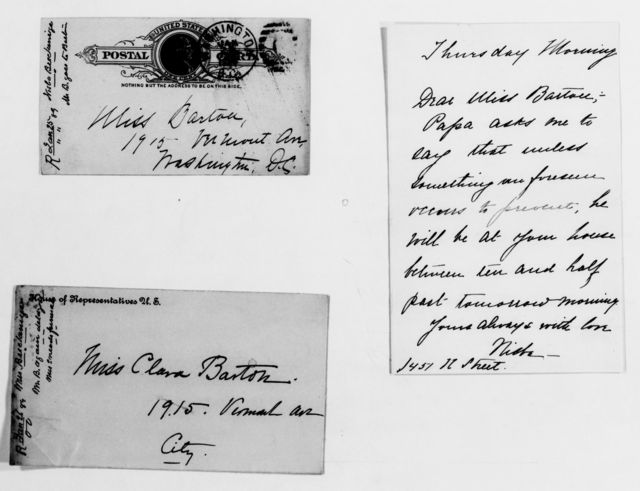 Clara Barton Papers: General Correspondence, 1838-1912; Breckinridge, Issa Desha and Sophonisba, 1888-1889, undated