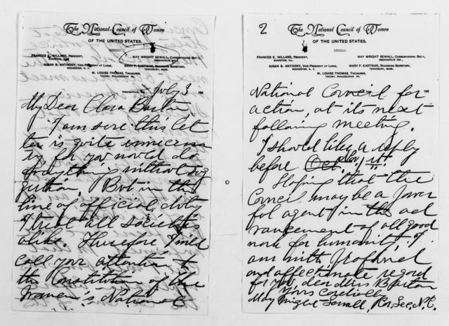 Clara Barton Papers: General Correspondence, 1838-1912; Sewall, May Wright, 1888-1903, National Council of Women