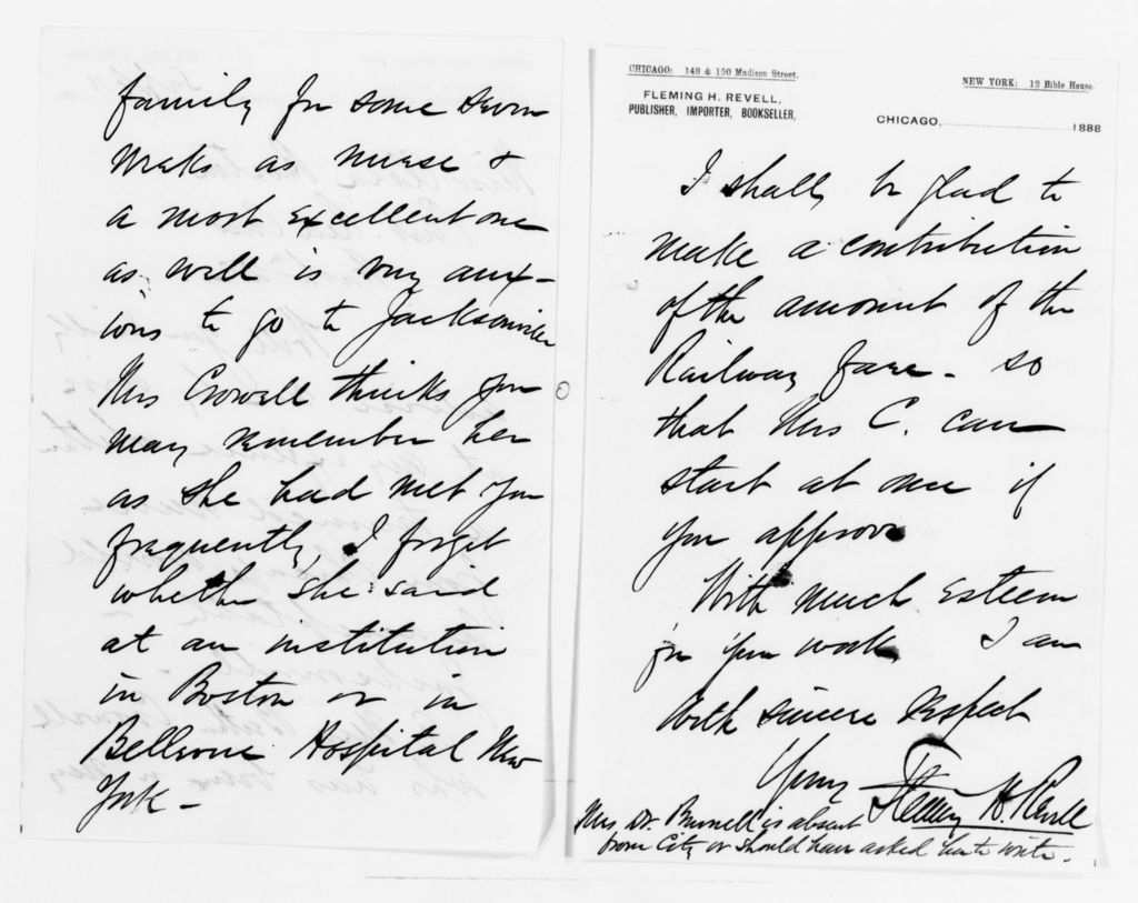 Clara Barton Papers: Red Cross File, 1863-1957; American National Red Cross, 1878-1957; Relief operations; Jacksonville and Macclenny, Fla.; Correspondence; 1888