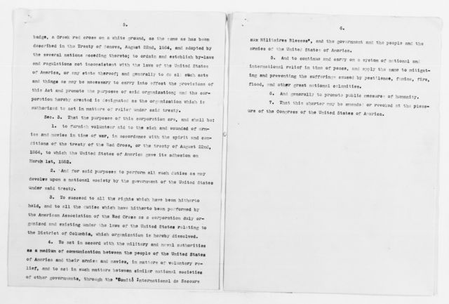 Clara Barton Papers: Red Cross File, 1863-1957; American National Red Cross, 1878-1957; Incorporation; National incorporation and insignia protection; Legislation, 1888-1900, undated