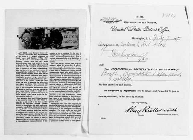 Clara Barton Papers: Red Cross File, 1863-1957; American National Red Cross, 1878-1957; Incorporation; National incorporation and insignia protection; Miscellany, 1890-1904, undated