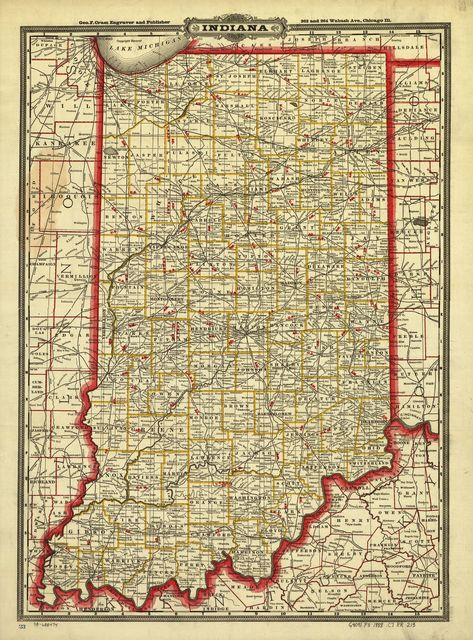Cram's township and rail road map of Indiana.