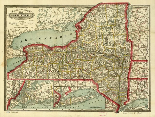 Cram's township and rail road map of New York.