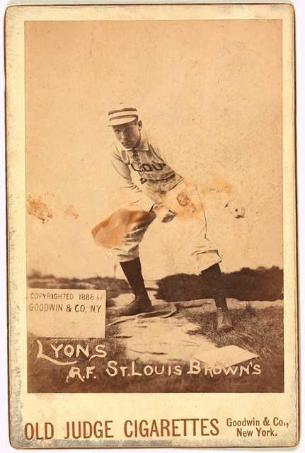 [Denny Lyons, St. Louis Browns, baseball card portrait]