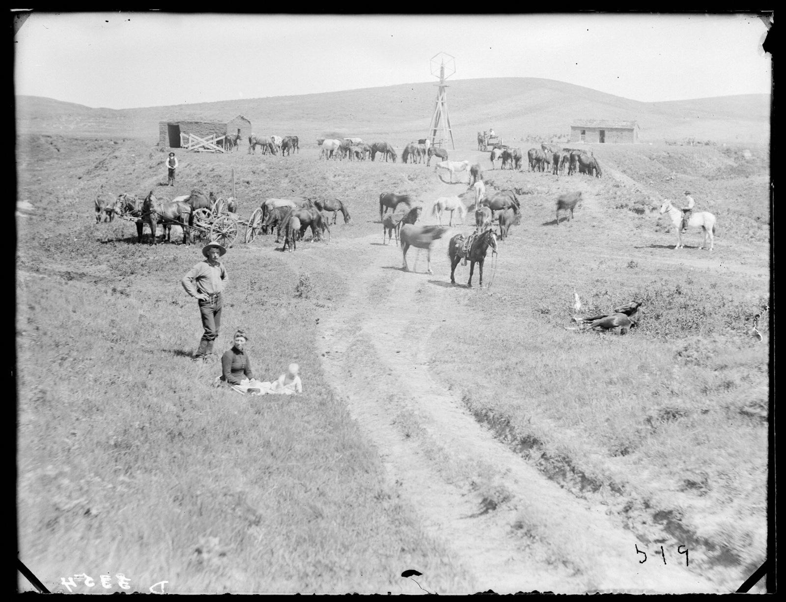 Family on ranch in eastern Custer County, Nebraska.