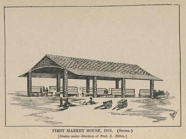 First market house, 1812 (stone), drawn under the direction of Fred. L. Billon / B. Russell.