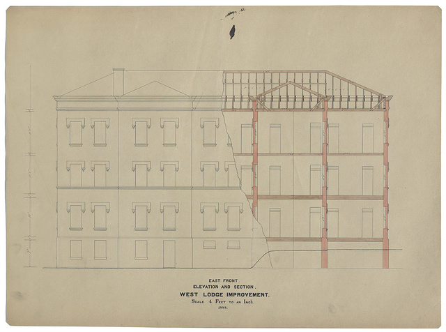 [Government Hospital for the Insane (Saint Elizabeths Hospital), Washington, D.C. West Lodge. East front alterations. Elevation and section]