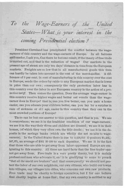 How it works in England. New York, June 13, 1888. To the editor of the Mail and Express. Sir:- I have voted the Democratic ticket since 1872 ... and would have been hurrahing for Cleveland to-day had my views on the tariff question not entirely