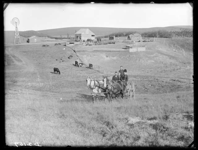Julius Kirk family on their ranch in Custer County, Nebraska.