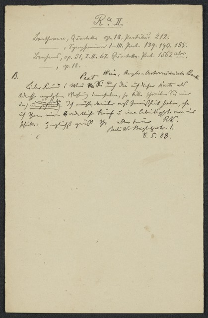 [Letter, 1888 April] 23, Berlin [to] Brahms