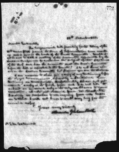 Letter from Alexander Graham Bell to Edward M. Gallaudet, December 10, 1888