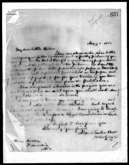 Letter from Alexander Graham Bell to Helen Keller, May 2, 1888