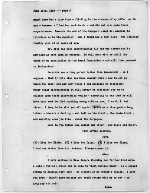 Letter from Alexander Graham Bell to Mabel Hubbard Bell, June 11, 1888