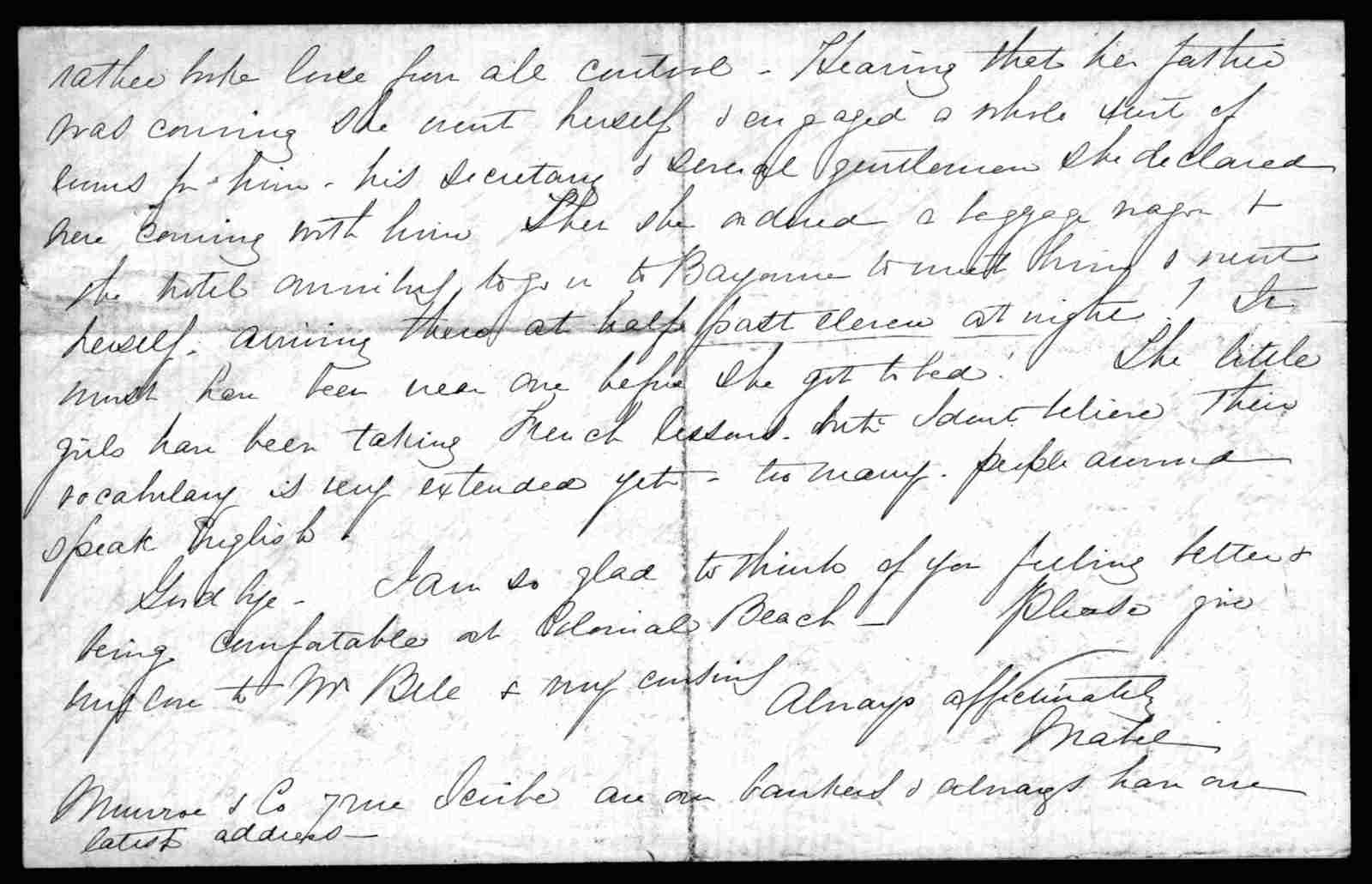 Letter from Mabel Hubbard Bell to Eliza Symonds Bell, July 8, 1888