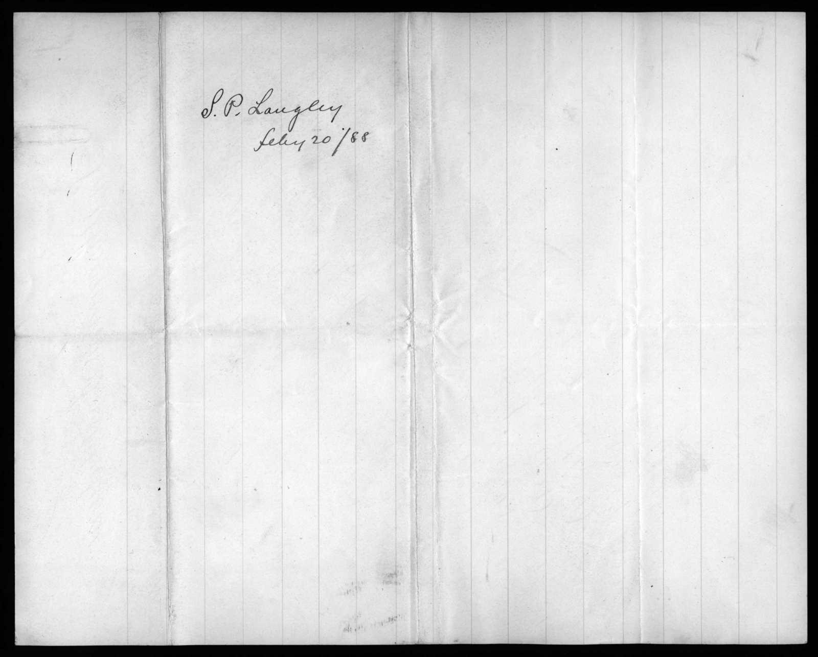 Letter from Samuel P. Langley to Alexander Graham Bell, February 20, 1888