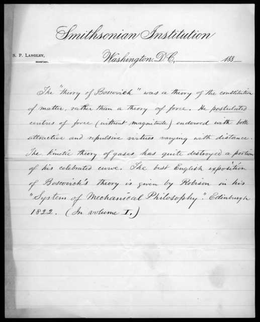 Letter from Samuel P. Langley to Alexander Graham Bell, February 20, 1888