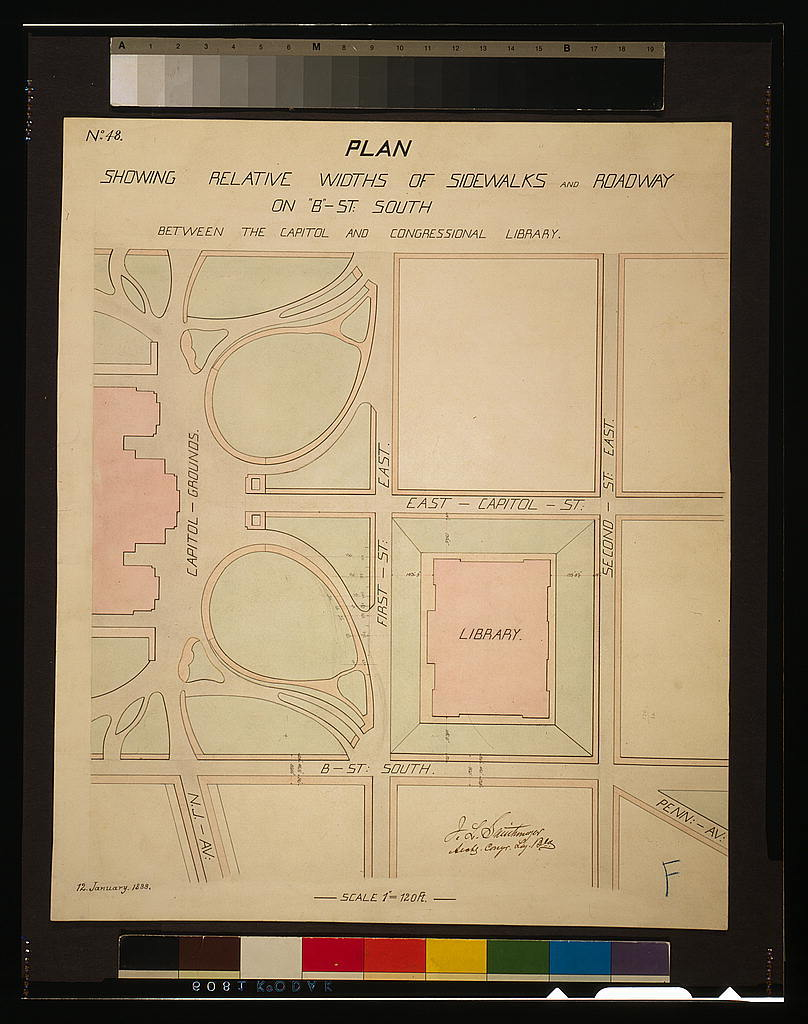 [Library of Congress, Washington, D.C. Plan showing roadway and sidewalk widths]