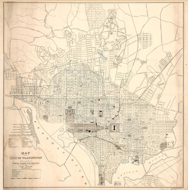 Map of the city of Washington showing the system of water supply & distribution : to accompany the annual report of Cap't J.L. Lusk, Corps of Eng'rs U.S.A.