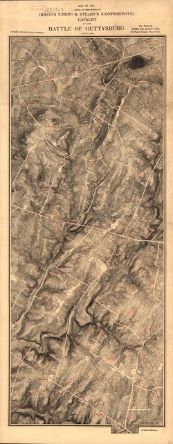 Map of the field of operations of Gregg's (Union) & Stuart's (Confederate) cavalry at the battle of Gettysburg, July 3, 1863