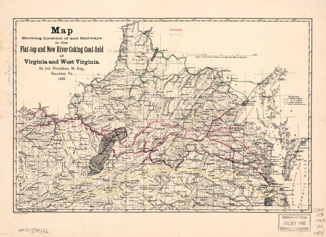 Map showing location of and railways to the Flat-top and New River Coking Coalfield of Virginia and West Virginia /