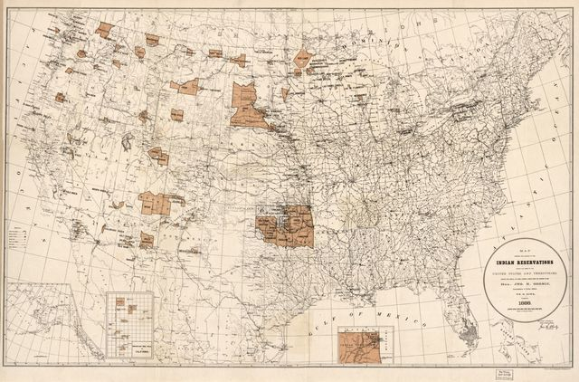 Map showing the location of the Indian reservations within the limits of the United States and territories /