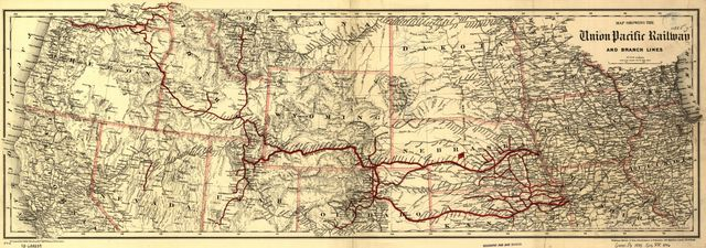 Map showing the Union Pacific Railway and branch lines.