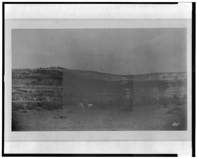 'Montezuma's Castle', on Beaver Creek, Arizona. Showing cavate [sic] lodges below and to the right / E.A.M.