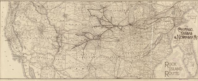 New and correct map of the Chicago, Kansas & Nebraska Ry. Rock Island Route.