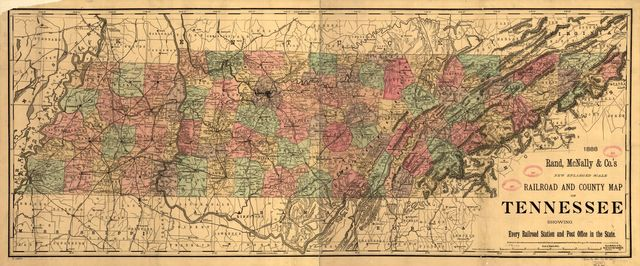 New enlarged scale railroad and county map of Tennessee showing every railroad station and post office in the state, 1888.