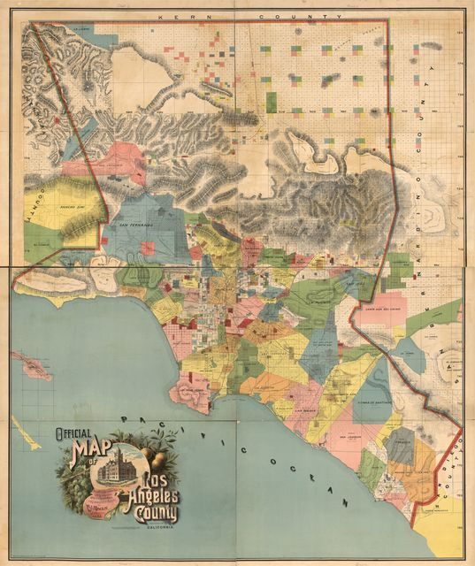 Official map of Los Angeles County, California : compiled under instructions and by the order of the Board of Supervisors of Los Angeles County /