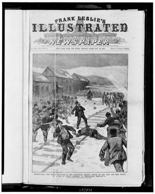 Pennsylvania - the mining troubles in the Schuylkill region - attack on the coal and iron police by a mob of Polish strikers, at Shenandoah, February 3d / from a sketch by Joseph Becker.