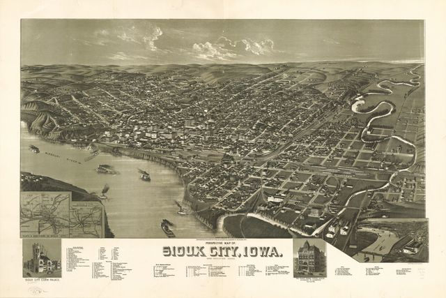 Perspective map of Sioux City, Iowa. 1888.