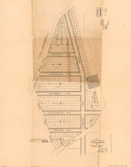 "Plat of survey and subdivision of ""Washington Heights"" : by the commissioners appointed in Equity Cause No. 9912 /"