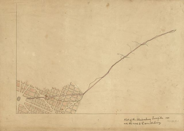 Plat of the Bladensburg Turnpike and old road to Carrollsburg.