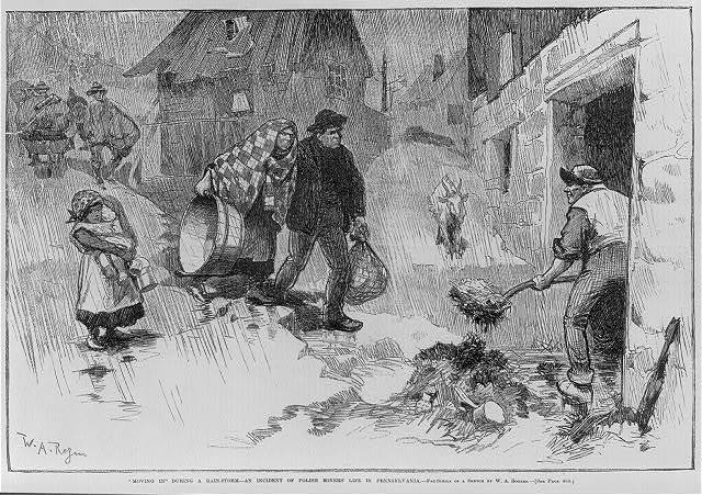 """Polish miner's life. """"Moving in"""" during a rainstorm - an incident of Polish miners' life in Pennsylvania"""