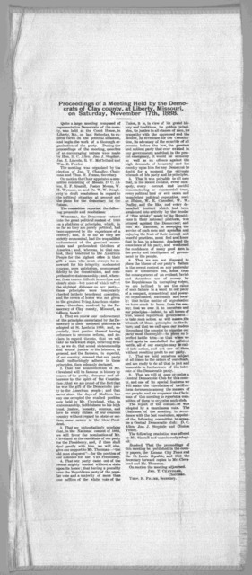 Proceedings of a meeting held by the Democrats of Clay county at Liberty, Missouri, on Saturday, November 17th, 1888.