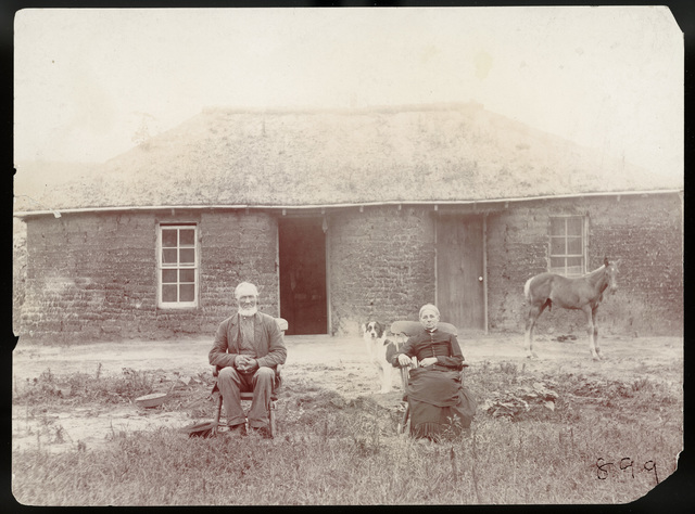 Samuel Welch and Aunt Abbie Welch near Lee Park, Custer County, Nebraska.