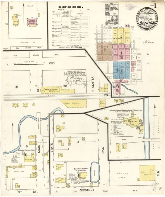 Sanborn Fire Insurance Map from Bonham, Fannin County, Texas.