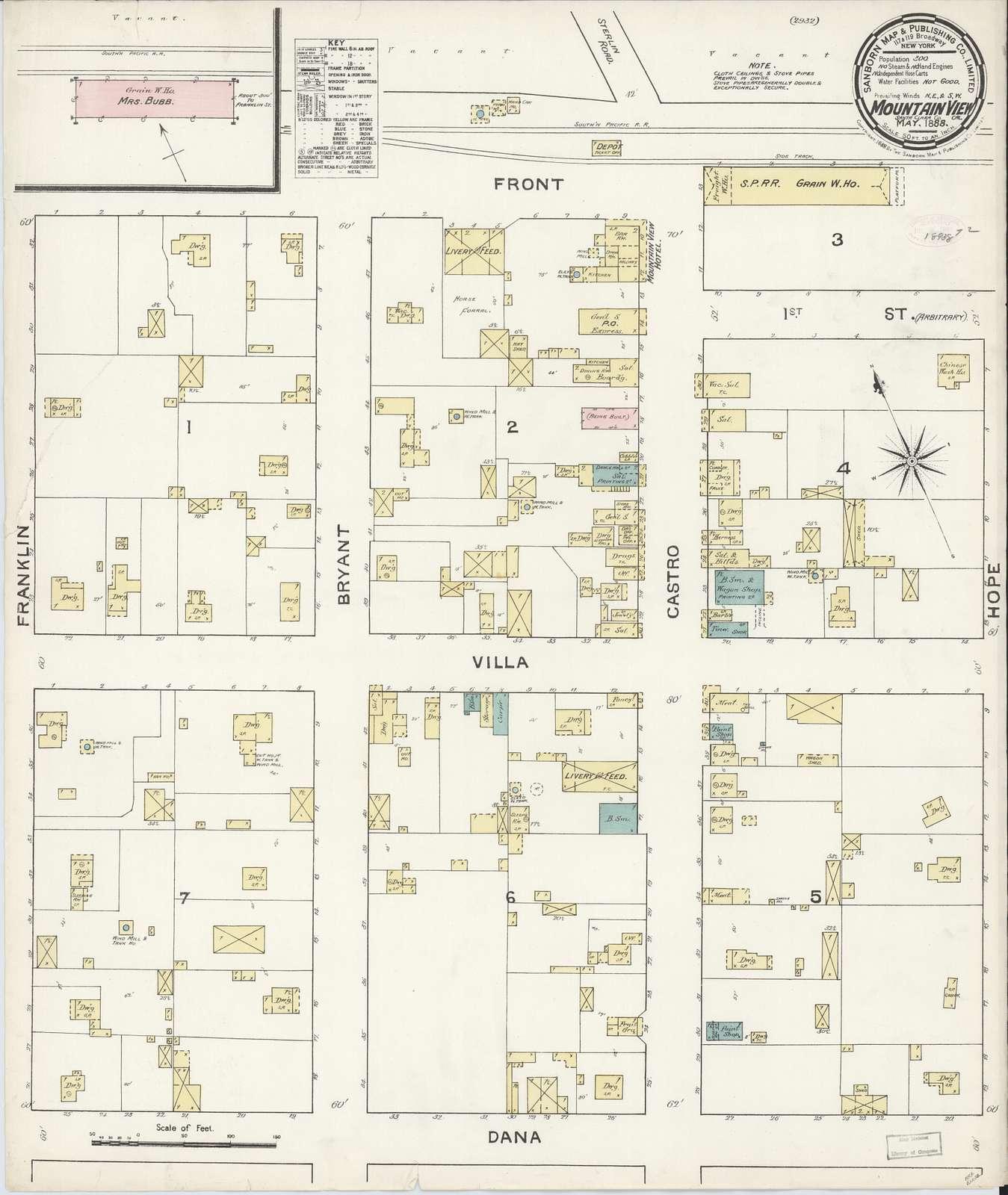 Sanborn Fire Insurance Map from Mountain View, Santa Clara County, California