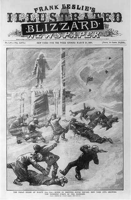 """The great storm of March 12th-13th - scene in Printing-House Square, New York City, showing the terrible force of the blizzard [People being blown over by the wind in blizzard; masthead covered with black headline """"Blizzard""""]"""