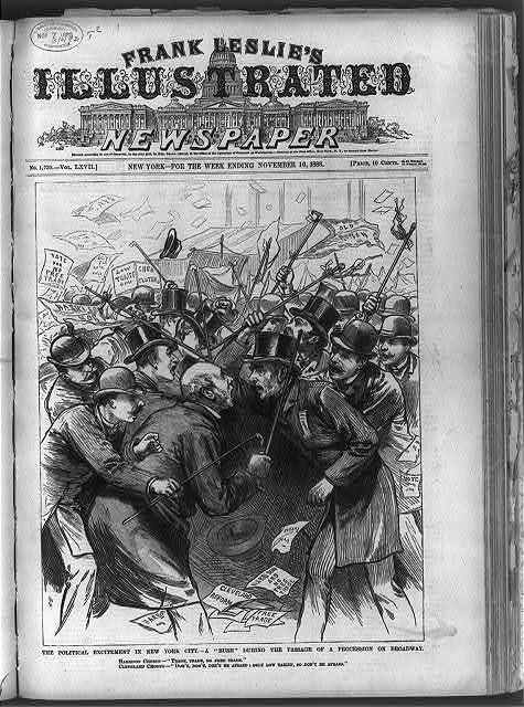 "The Political excitement in New York City - A ""Rush"" during the passage of a procession on Broadway [Harrison and Cleveland supporters in confrontation with raised canes over the issues of ""Free Trade"" and ""Tariff""]"